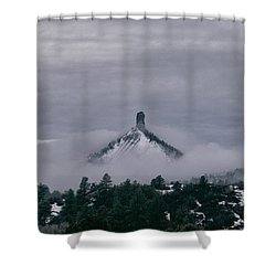 Winter Morning Fog Envelops Chimney Rock Shower Curtain by Jason Coward