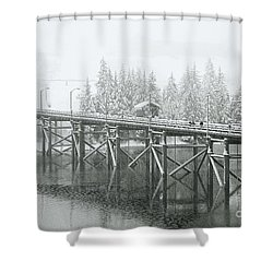 Winter Morning In The Pier Shower Curtain