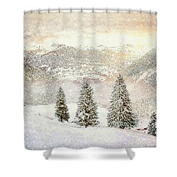 Shower Curtain featuring the digital art Winter Morning by Kai Saarto
