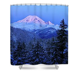 Winter Morning With Mount Rainier Shower Curtain