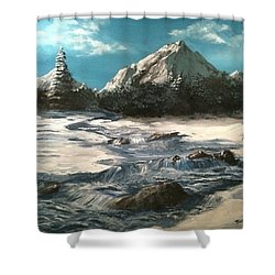 Shower Curtain featuring the painting Winter Mountain Stream by Jack Skinner