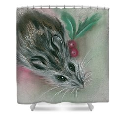 Winter Mouse With Holly Shower Curtain