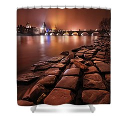 Winter Night Near Charles Bridge In Prague, Czech Republic Shower Curtain