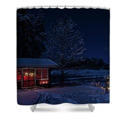 Shower Curtain featuring the photograph Winter Night by Torbjorn Swenelius