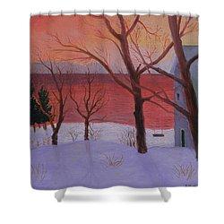 Winter Ocean Sunrise Shower Curtain