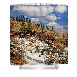 Winter On The Bizz Johnson Trail Shower Curtain by James Eddy