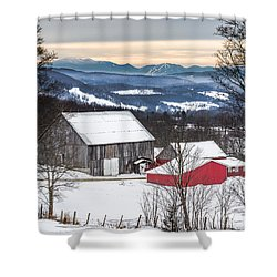 Winter On The Farm On The Hill Shower Curtain