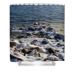 Winter On The Long Island Sound Shower Curtain