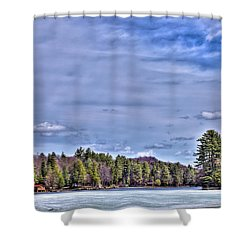 Shower Curtain featuring the photograph Winter On The Pond by David Patterson