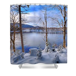 Winter On West Lake Shower Curtain by David Patterson