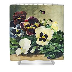Winter Pansies Shower Curtain by Louis Bombled