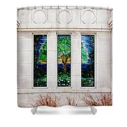 Winter Quarters Temple Tree Of Life Stained Glass Window Details Shower Curtain