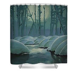 Shower Curtain featuring the painting Winter Quiet by Jacqueline Athmann