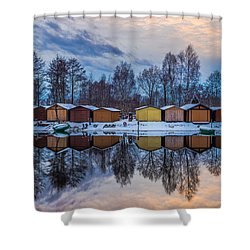 Winter Riverside Reflected Shower Curtain