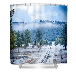 Shower Curtain featuring the photograph Winter Road by Jason Smith