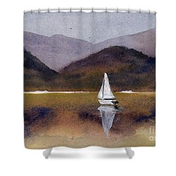 Winter Sailing At Our Island Shower Curtain by Randy Sprout