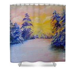 Shower Curtain featuring the painting Winter by Saundra Johnson