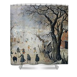 Winter Scene Shower Curtain by Hendrik Avercamp