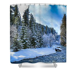 Winter Scene On The River Shower Curtain by Lynn Hopwood