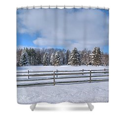Shower Curtain featuring the photograph Winter Scenery 14589 by Guy Whiteley