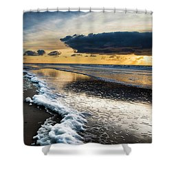 Winter Sea Sunset Shower Curtain
