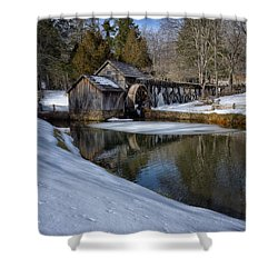 Winter Snow At Mabry Mill Shower Curtain