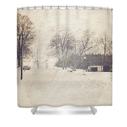 Winter Snow Storm At The Farm Shower Curtain