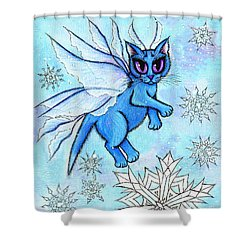 Winter Snowflake Fairy Cat Shower Curtain