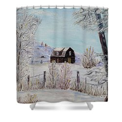 Shower Curtain featuring the painting Winter Solace by Marilyn  McNish