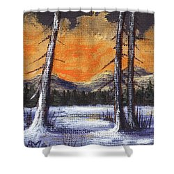 Shower Curtain featuring the painting Winter Solitude #2 by Anastasiya Malakhova