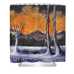 Shower Curtain featuring the painting Winter Solitude #3 by Anastasiya Malakhova
