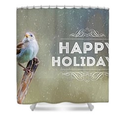 Winter Sparrow Holiday Card Shower Curtain