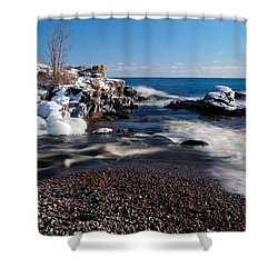 Winter Splash Shower Curtain by Sebastian Musial