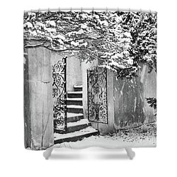 Winter Steps At The Vanderbilt In Centerport, Ny Shower Curtain