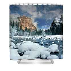 Shower Curtain featuring the photograph Winter Storm In Yosemite National Park by Dave Welling