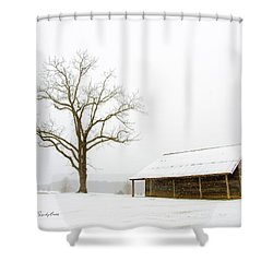 Winter Storm On The Farm Shower Curtain