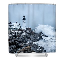 Winter Storm, Portland Headlight Shower Curtain