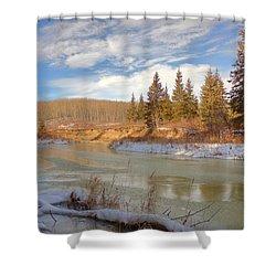 Winter Stream Shower Curtain by Jim Sauchyn