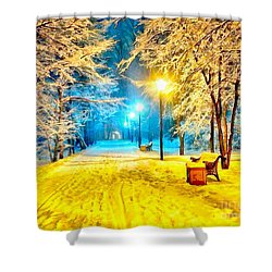 Winter Street Shower Curtain by Catherine Lott