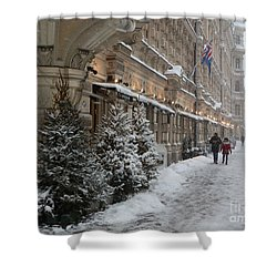 Winter Stroll In Helsinki Shower Curtain