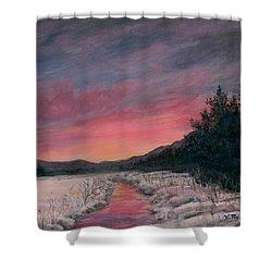 Winter Sundown Shower Curtain