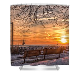 Winter Sunrise In The Park Shower Curtain