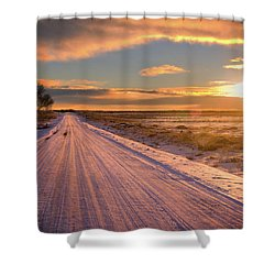 Winter Sunrise Light Shower Curtain by John De Bord