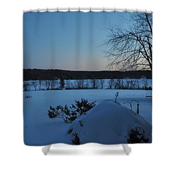 Shower Curtain featuring the photograph Winter Sunrise On Demond Pond by John Black
