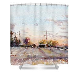 Winter Sunrise On The Lane Shower Curtain by Judith Levins