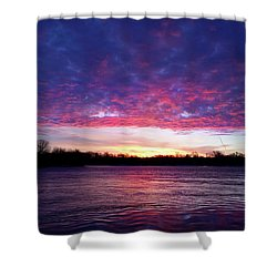 Winter Sunrise On The Wisconsin River Shower Curtain by Brook Burling