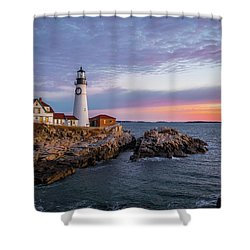 Winter Sunrise Over Portland Head Light Shower Curtain