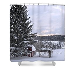 Shower Curtain featuring the photograph Winter Sunset - 1 by John Black
