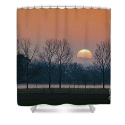 Winter Sunset 1 Shower Curtain by Jean Bernard Roussilhe