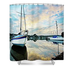 Winter Sunset At Mylor Bridge Shower Curtain